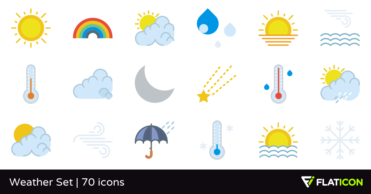 Weather Set 70 free icons (SVG, EPS, PSD, PNG files).