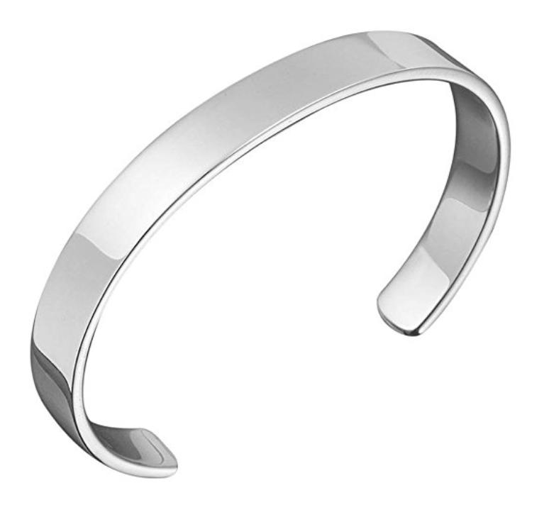 Men\'s 925 Sterling Silver Bangle, Open Cuff Design.