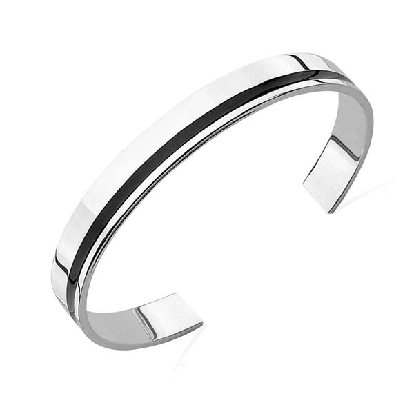 Men\'s Solid Silver Black Stripe Cuff Bangle.