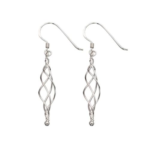 Waterfall Twist Sterling Silver Earrings.