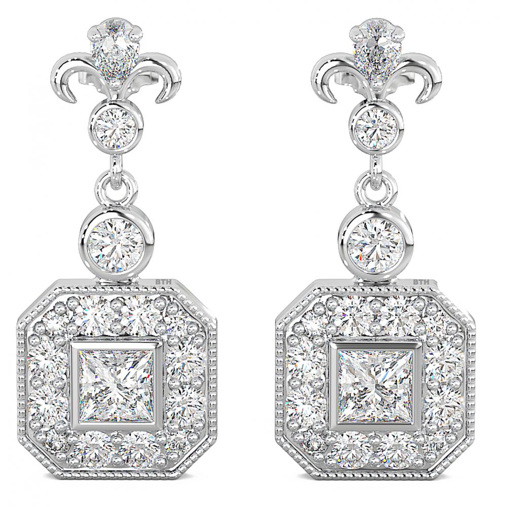 Ladies / Bridal Art Deco Cubic Zirconia Dangle Sterling Silver Earrings.