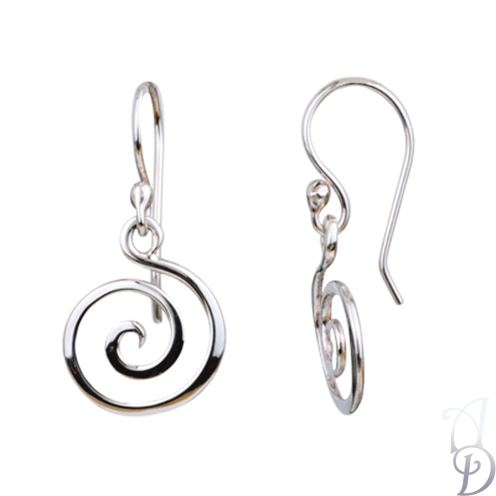 Sterling Silver Spiral Dangle Earrings.