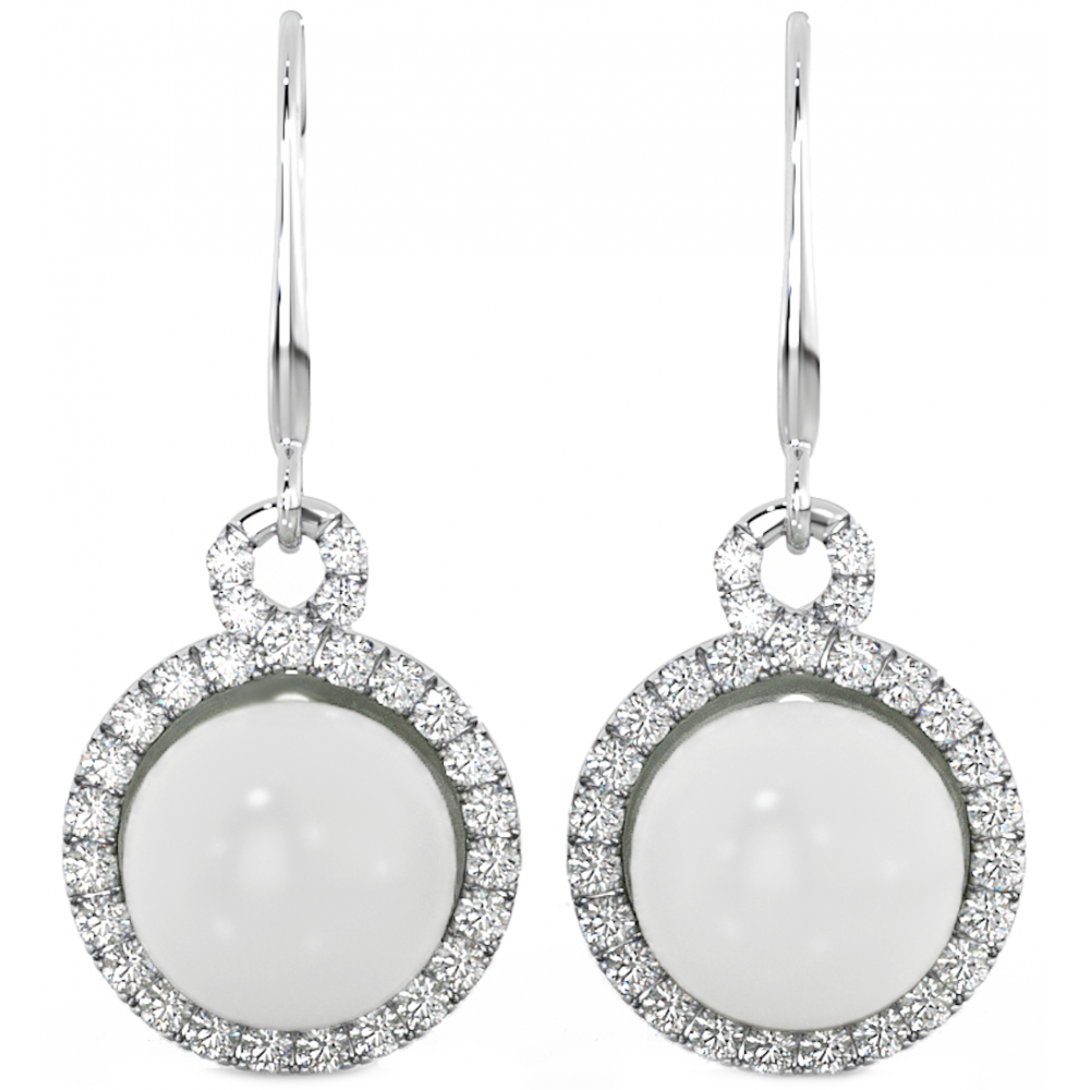 925 Sterling Silver White Freshwater Pearl , Drop Earrings.
