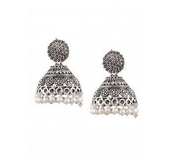 Sia Silver Oxidised Jhumka Earring 18545.