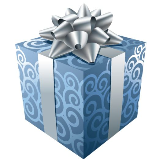 Blue Gift with Silver Ribbon Clipart.