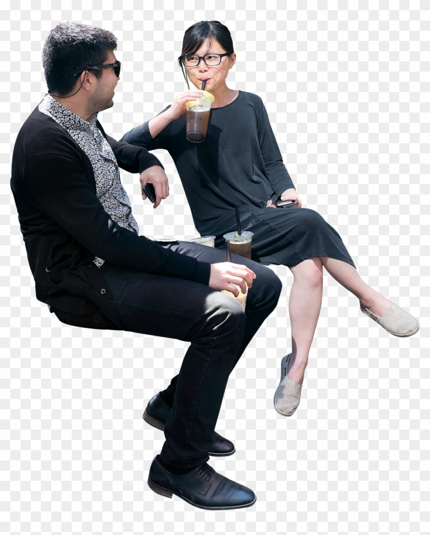 Sitting Man And Woman Png.