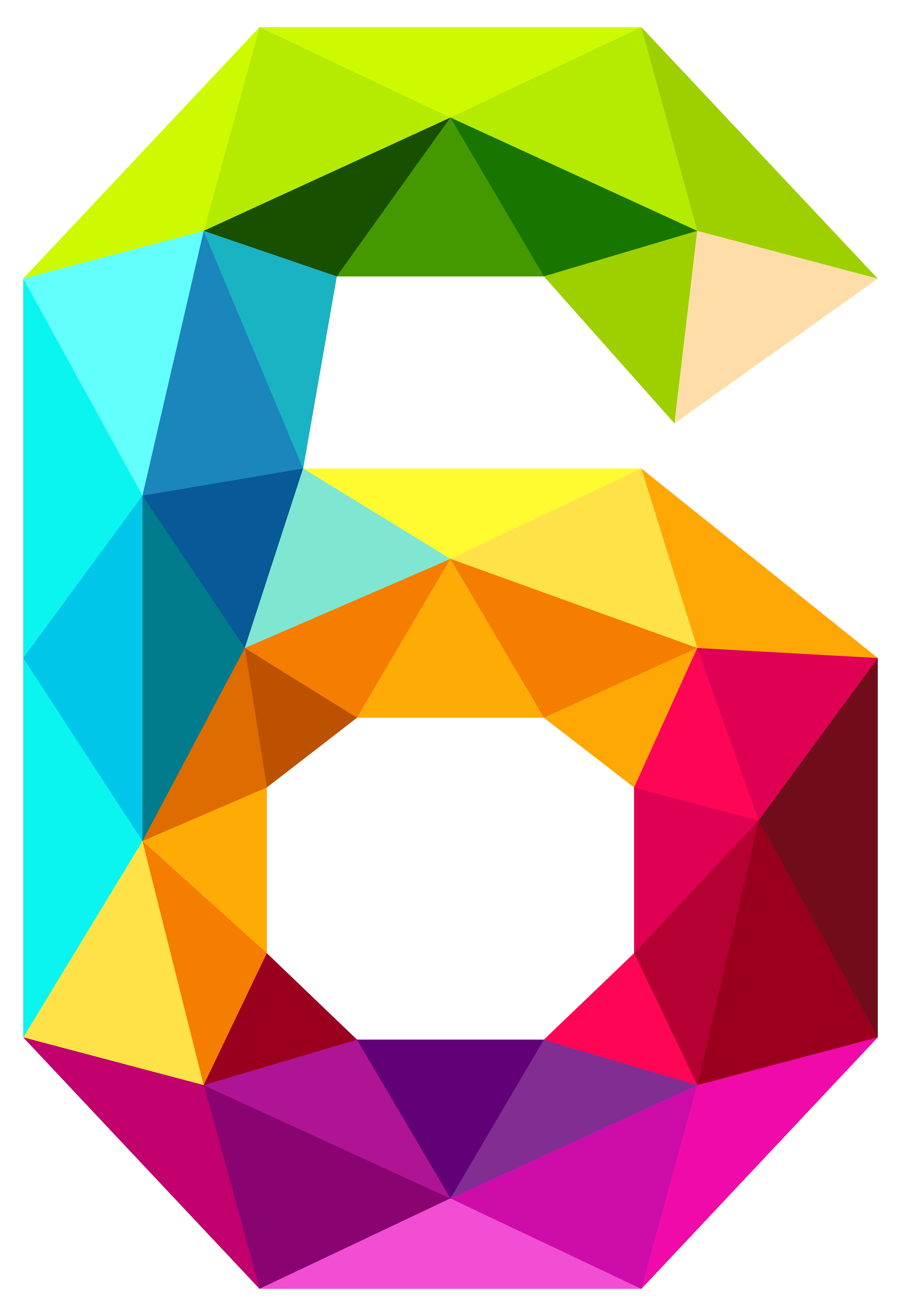 Colourful Triangles Number Six PNG Clipart Image.