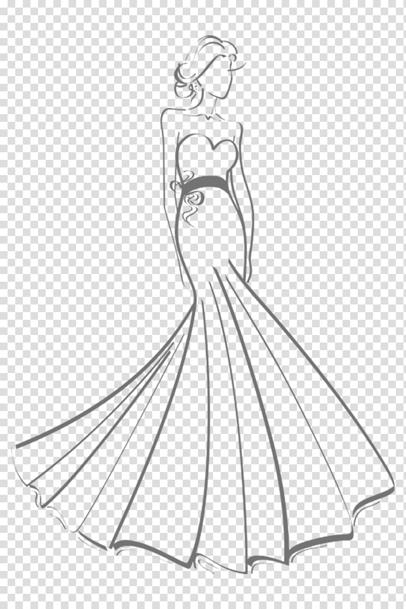 Gown Wedding dress Drawing Sketch, dress transparent.