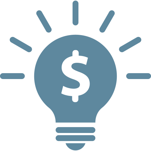 Bulb, business, idea, light, marketing, money, solution icon.