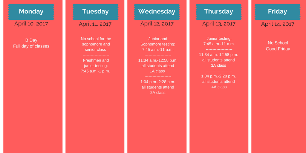 Spring Break dates change starting in 2018 due to April.