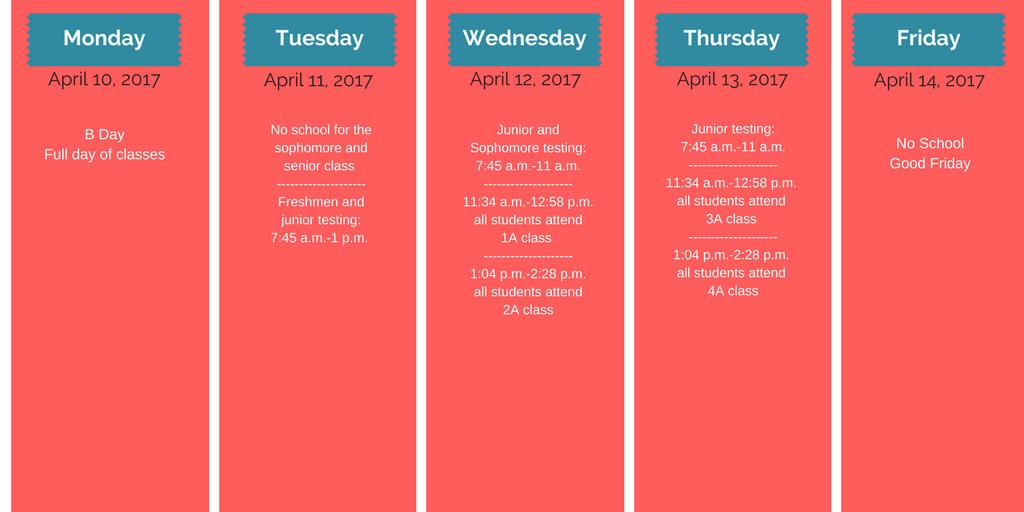 Spring Break dates change starting in 2018 due to April.