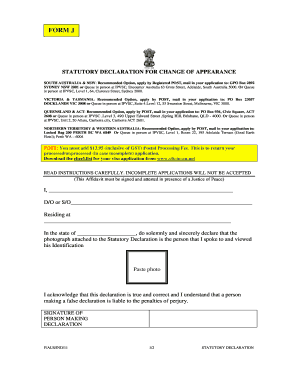 Statutory Declaration Form India.