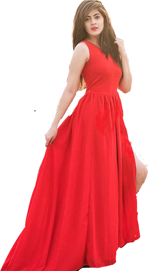 Red Dress Girl PNG Standing Stylish.