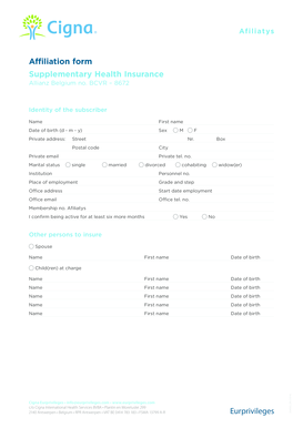 Fillable Online Affiliation form Supplementary Health.