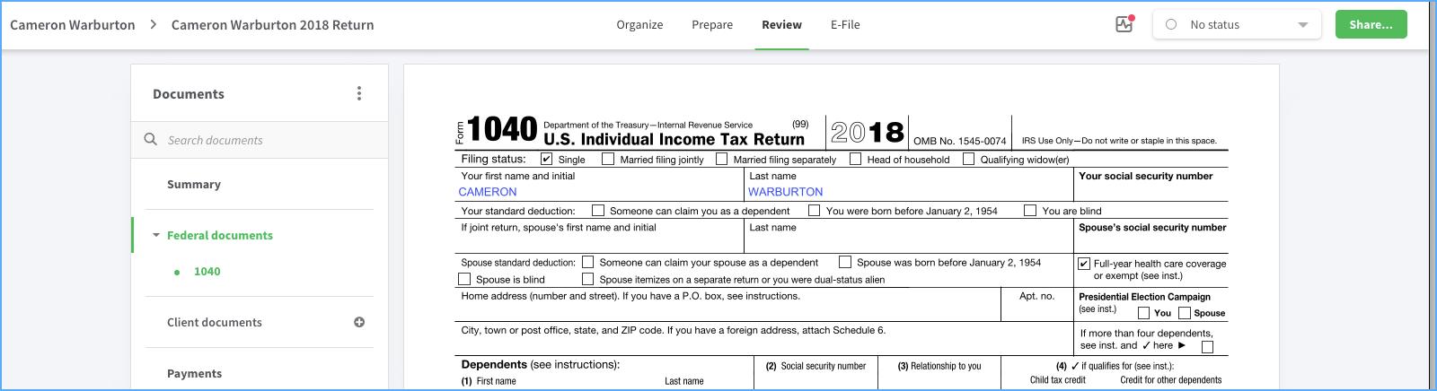 Preparing a Tax Return in Canopy.