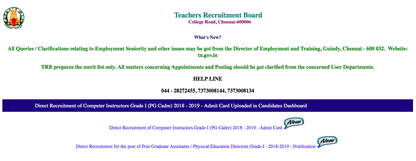TRB Recruitment 2019.