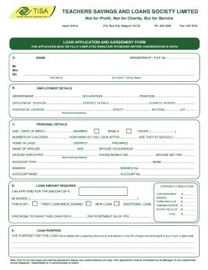 Fillable Online TSL bLoan Applicationb Form.