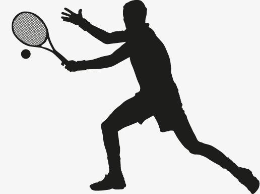 Tennis Silhouette Figures Vector, Man, M #8047.
