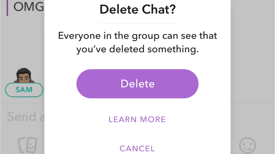 Snapchat will now let you delete messages in chat.