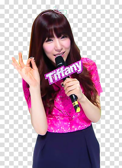 woman holding microphone with tiffany name transparent.