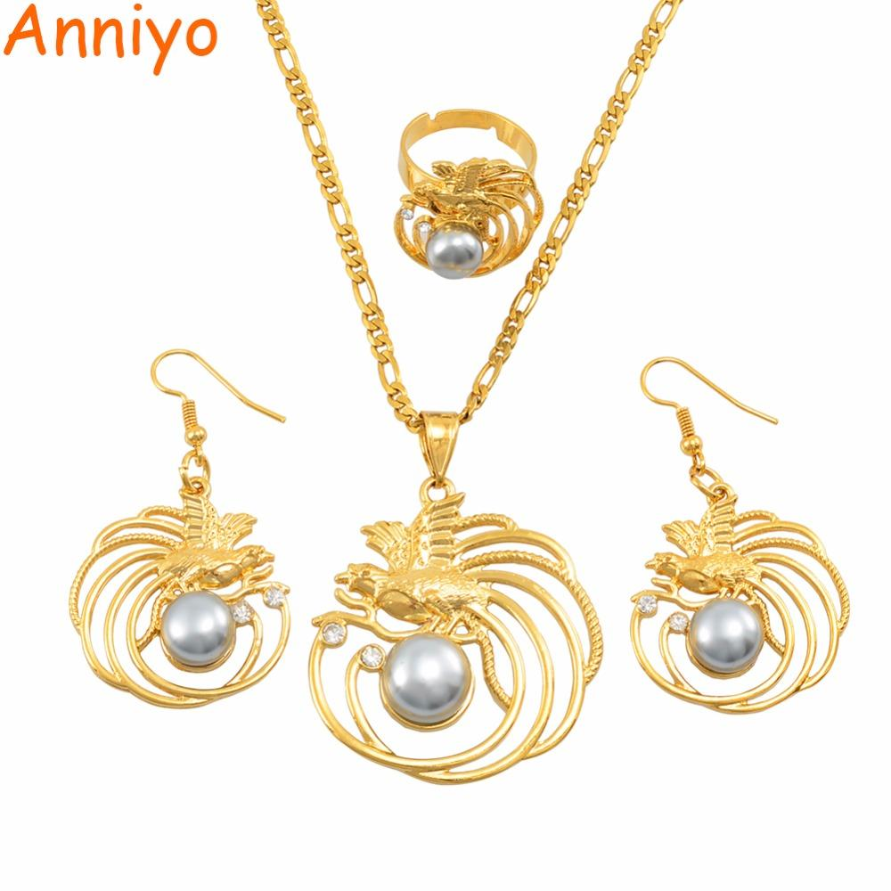 Anniyo PNG Pearl Bird Pendant Necklaces Earrings Free Size Ring Papua New  Guinea Traditional Ornament Jewellery Gifts #144006GY.