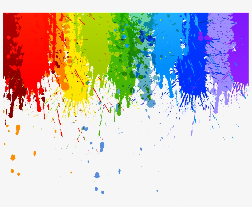 Colour Splash Drip Transparent Background Watercolor.