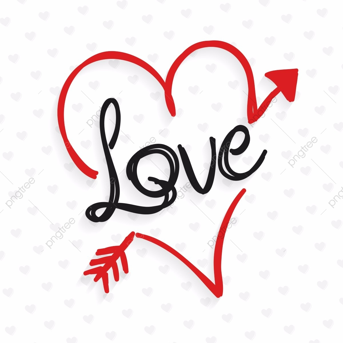 Love Doodle Typography With Heart, Love, Heart, Doodle PNG.