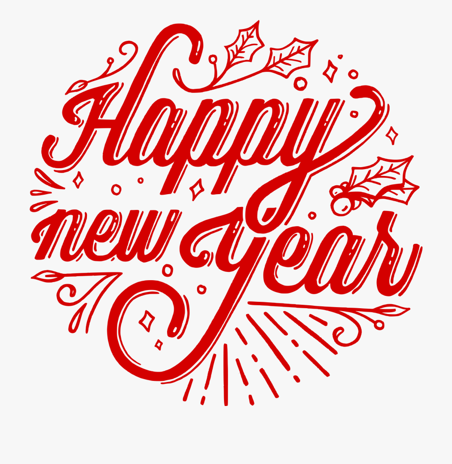 Happy New Year Typography Png #141185.