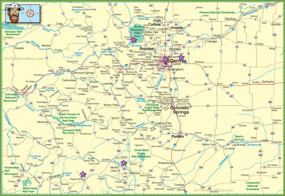 US Map : Large Detailed Map Colorado Cities And Roads United.