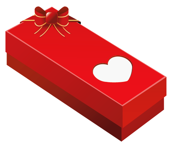 Valentine Gift Box with Heart PNG Clipart Picture.
