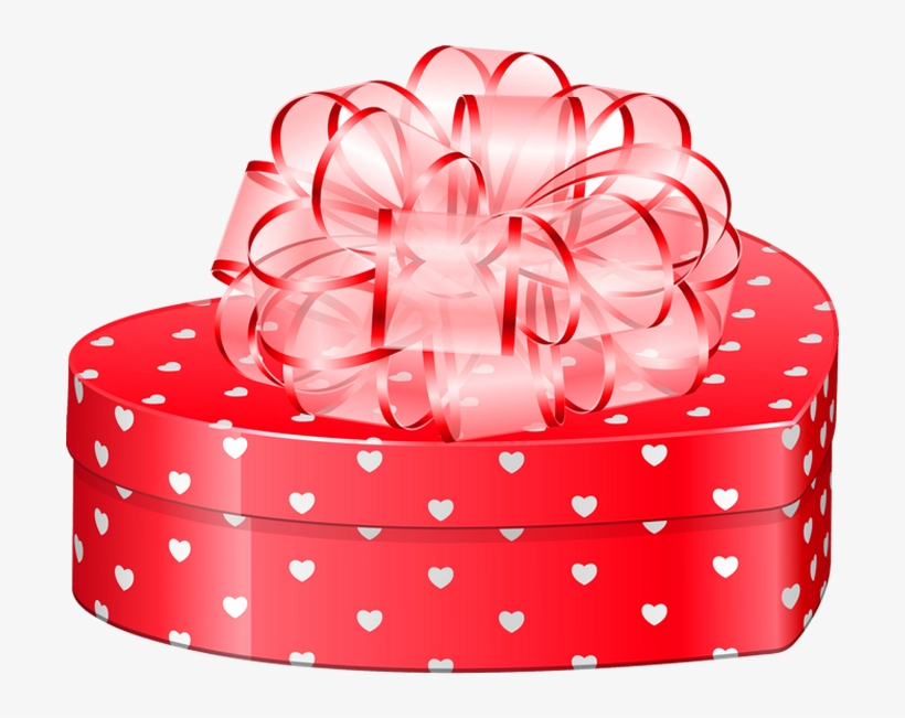 Valentines Day Heart Gift Box With Bow Png Clipart.