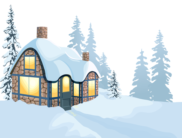 Winter House and Snow PNG Clipart Image.