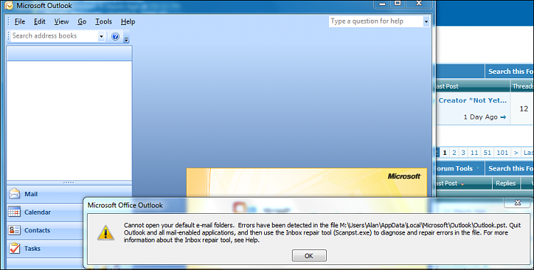 2007 Outlook won\'t open properly Solved.
