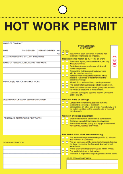 welding cutting, brazing hot work permit form tag.