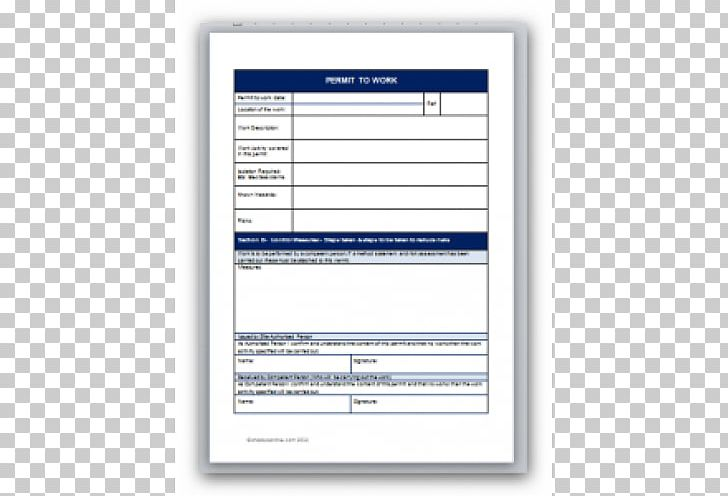 Template Work Permit Document Form Permit To Work PNG.