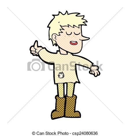Vectors of comic cartoon poor boy with positive attitude.
