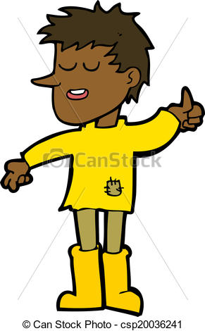EPS Vector of cartoon poor boy with positive attitude csp20036241.