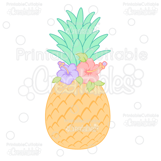 Hibiscus Flower Pineapple SVG Cutting File & Clipart.