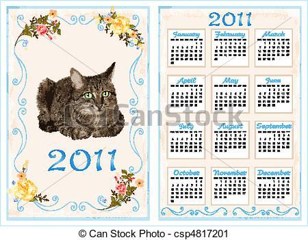 Vector Clip Art of vintage pocket calendar 2011 with cat. 70 x105.