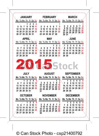 EPS Vectors of Pocket calendar 2015 template.