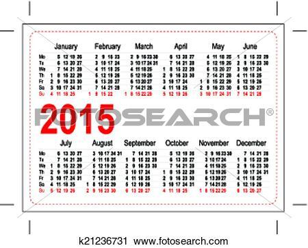 Clipart of Template pocket calendar 2015 k21236731.