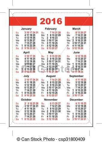 Vector Clipart of 2016 pocket calendar. First day Sunday. Vertical.