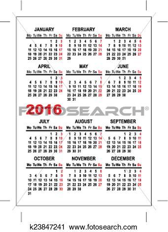 Clipart of Pocket calendar 2016 template k23847241.