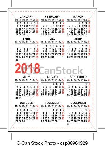Vector Illustration of Grid pocket calendar 2018. Illustration in.