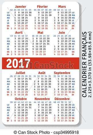 Vector Clip Art of French pocket calendar for 2017, standard size.