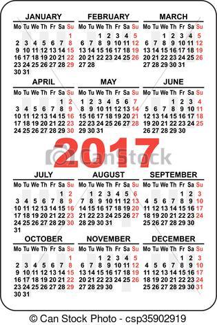 Vector Clip Art of Pocket calendar 2017. First day Monday.