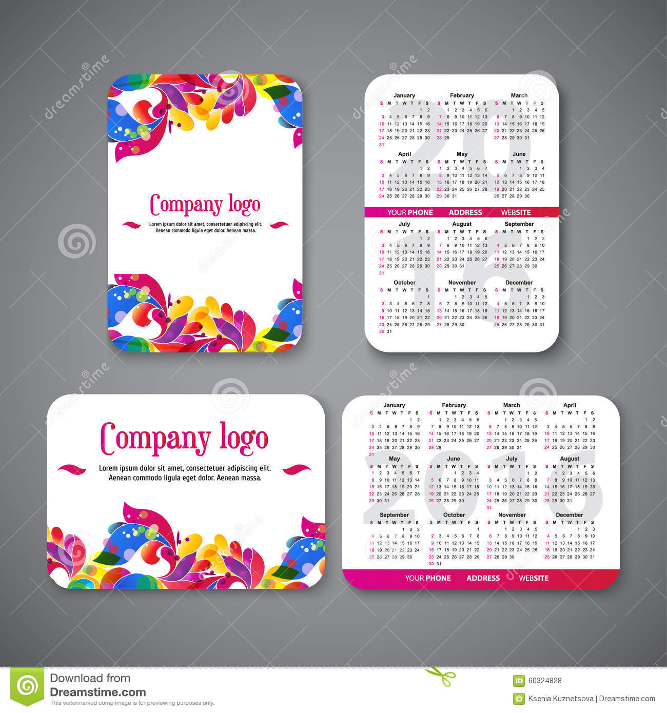 Template Design Pocket Calendar 2016 With Patterns Stock Vector.