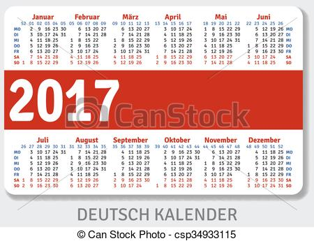 Vector Clip Art of German pocket calendar for 2017, standard size.