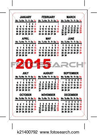 Clipart of Pocket calendar 2015 template k21400792.