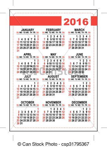 Clip Art Vector of 2016 pocket calendar. Template grid. First day.